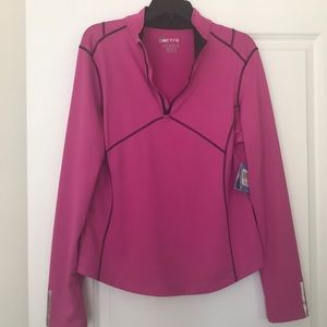 Fuchsia Pink & Black Dry-fit 3/4 Zip Pullover